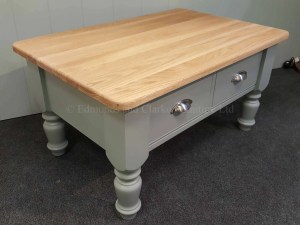 Edmunds Painted 2 Drawer Coffee Table. oak top. pine and painted top also available. 2 drawers with chrome cup handles
