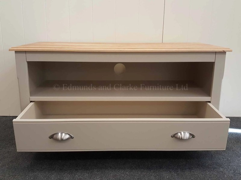 Edmunds painted one drawer television unit with open space for seperates