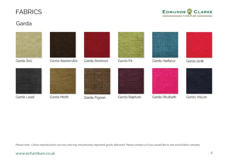 garda fabric swatches for our range of Edmunds chairs