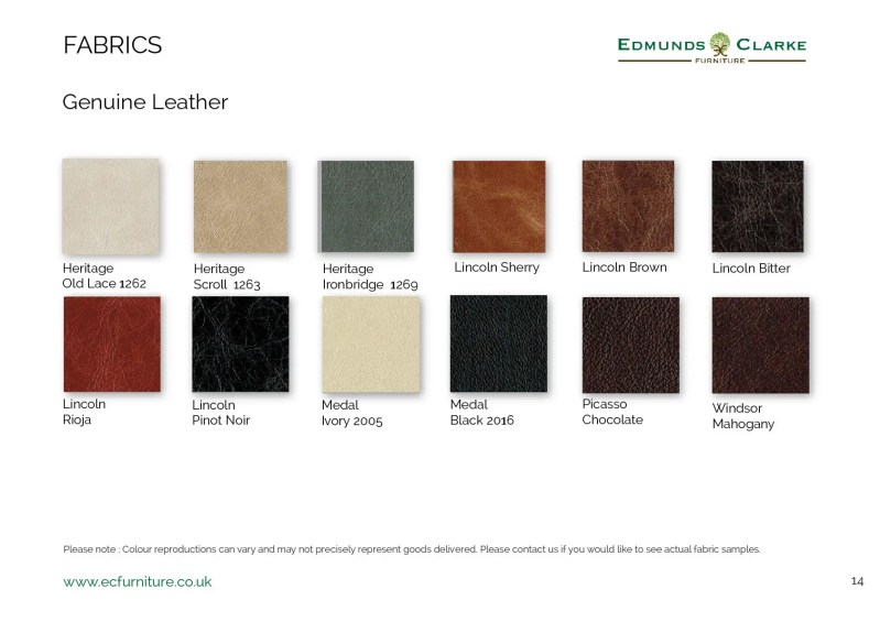Genuine leather samples for our range of Edmunds dining chairs