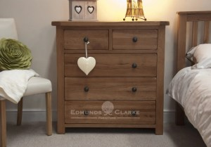 Lavenham solid rustic oak 5 drawer chest, rustic round handles, two drawers with 3 long drawers under