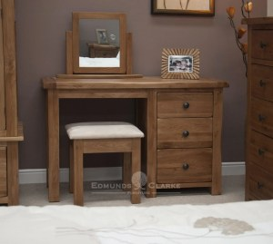 Lavenham solid rustic oak dressing table & stool . three drawers with rustic black knobs
