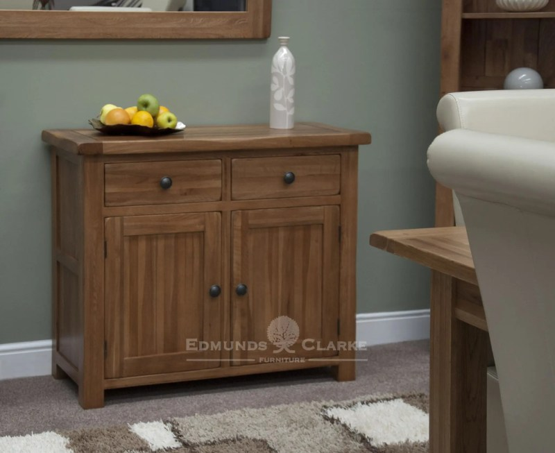 Lavenham solid rustic oak small sideboard, 2 drawers with rustic handles and adjustable shelves