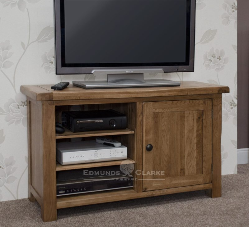 Lavenham Solid Rustic Oak TV Cabinet. pewter knobs and adjustable shelves and rounded off edges.