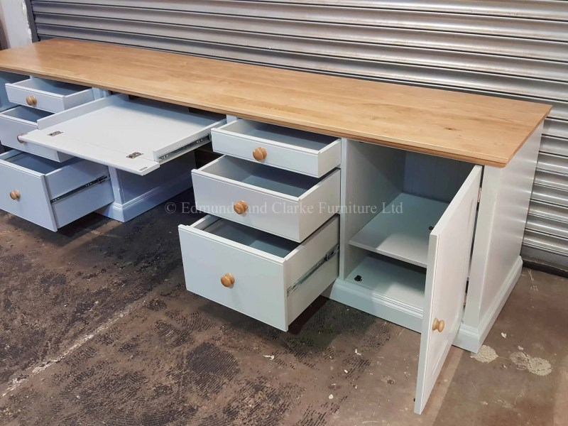 Made to measure large office workstation desk, painted with oak top