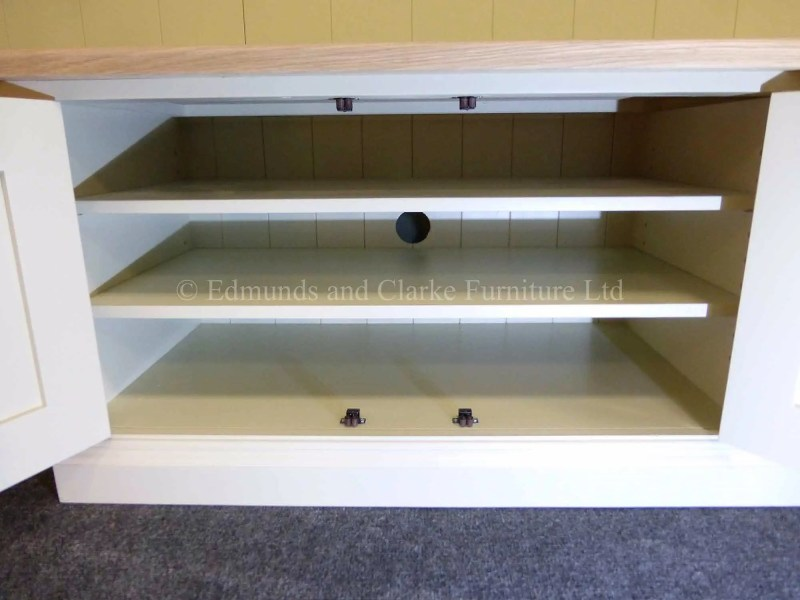 Made to measure wide painted entertainment unit solid oak top