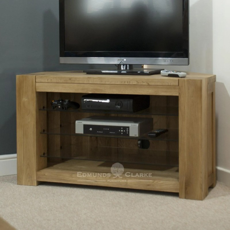 Solid oak corner tv entertainment stand chunky style