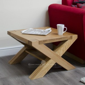 2' x 2' solid oak cross leg coffee table Newmarket