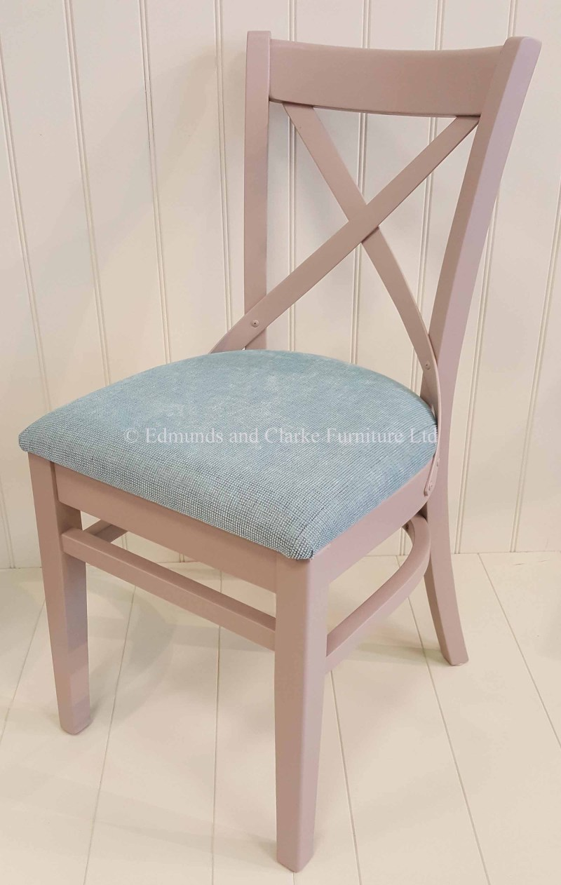 cross back Dining Chair - painted with fabric pad. many pads to choose from.