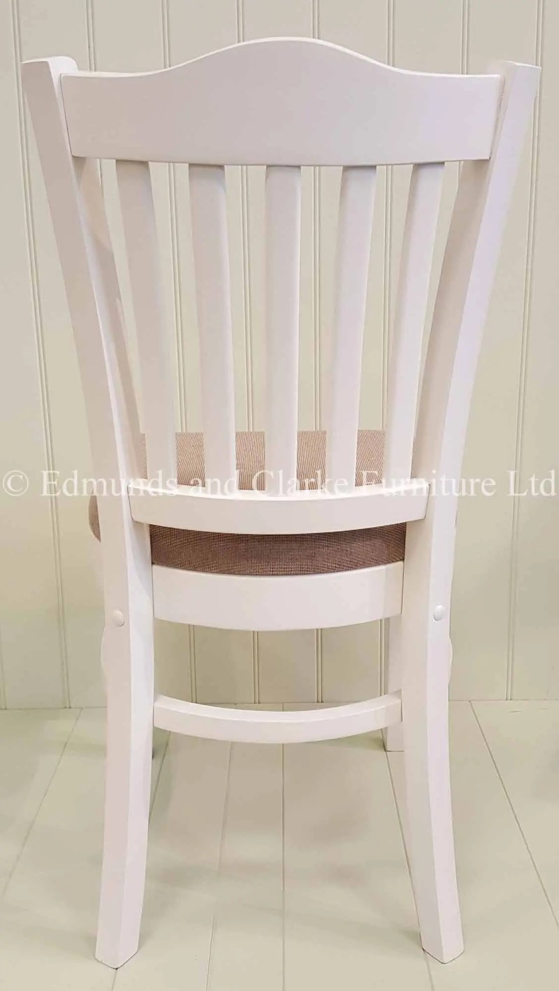 Edmunds Stamford dining chair with fabric seat painted white