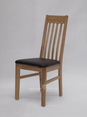 Sophia oak dining chair. slatted back with small lumbar support and faux leather seat bad in brown