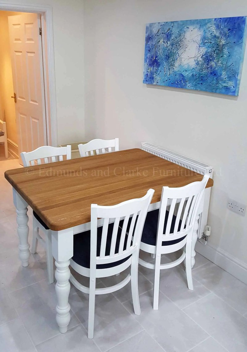 4' x 3' Farmhouse table painted turned legs oak top pictured with stamford chairs