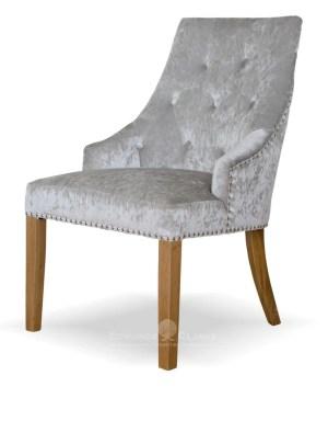 Bergen silver crushed velvet dining chair studded back and oak legs