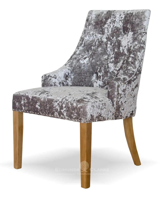 size 40 f7a40 c24ef Bergen Silver DEEP Crushed Velvet Dining Chair | Edmunds & Clarke Ltd