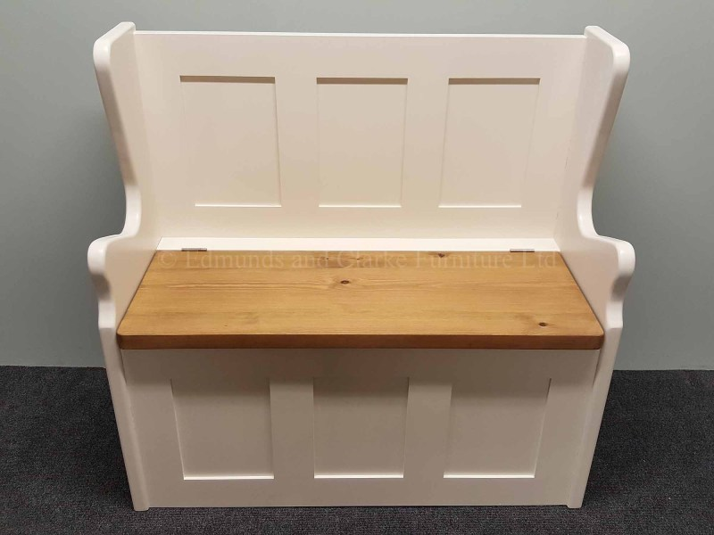 3 feet wide hallway storage bench, painted with lift up lid