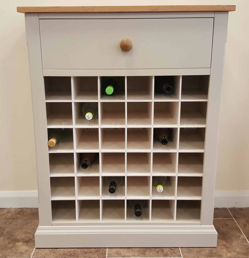 36 bottle wine rack painted grey with solid oak top