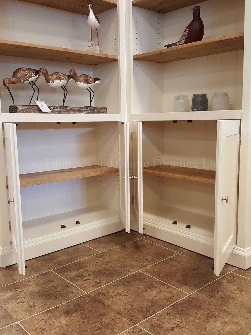 Corner bookcase, painted with woden shelves