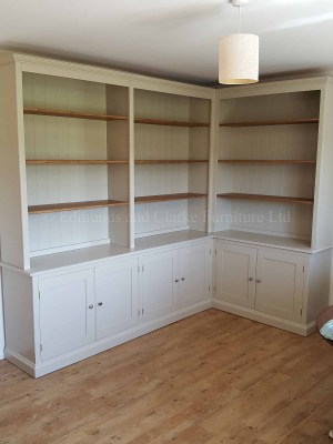 Edmunds painted corner library bookcase. various colour, shelving and knob option
