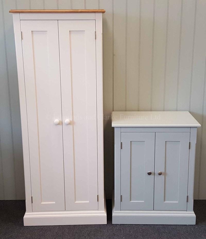edmunds painted 2 door cupboards deep depth at 45cm. various options available such as pine. oak or painted tops. various handle options only at edmunds clarke bury st edmunds