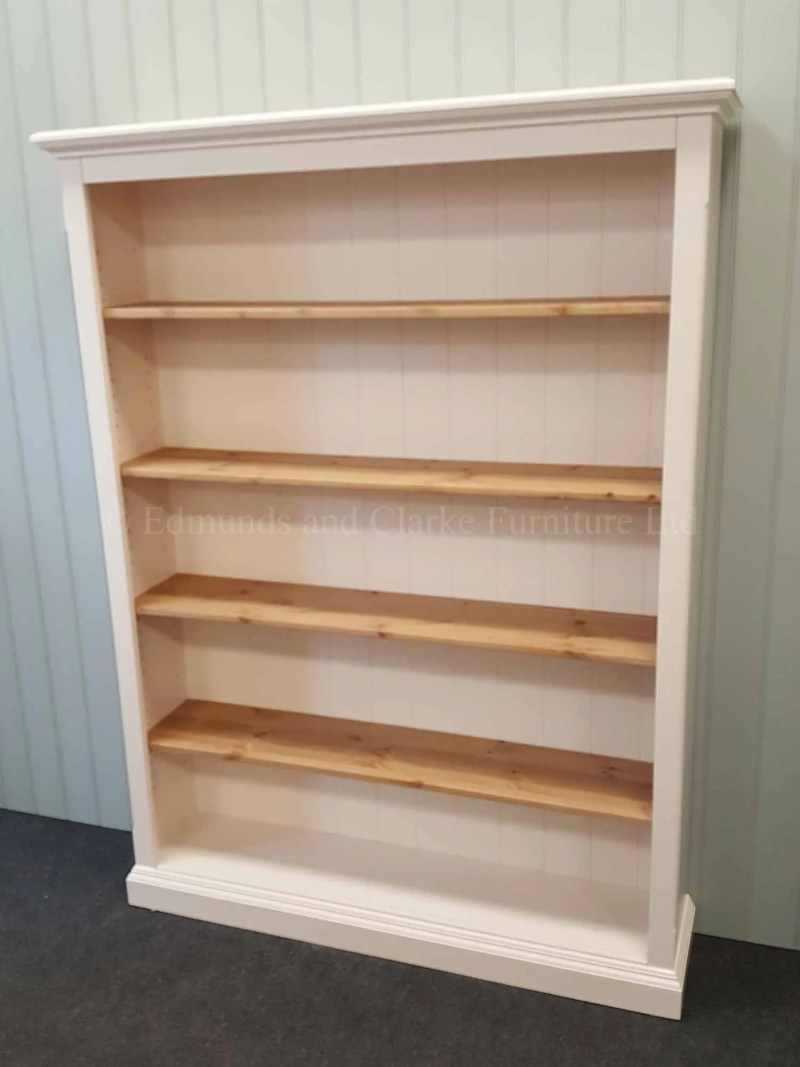 Edmunds painted bookcase with wooden shelves