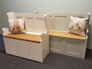Edmunds Monks Bench. Lift up lid with 10 colours. panel details. pine or oak lid and shaped edges