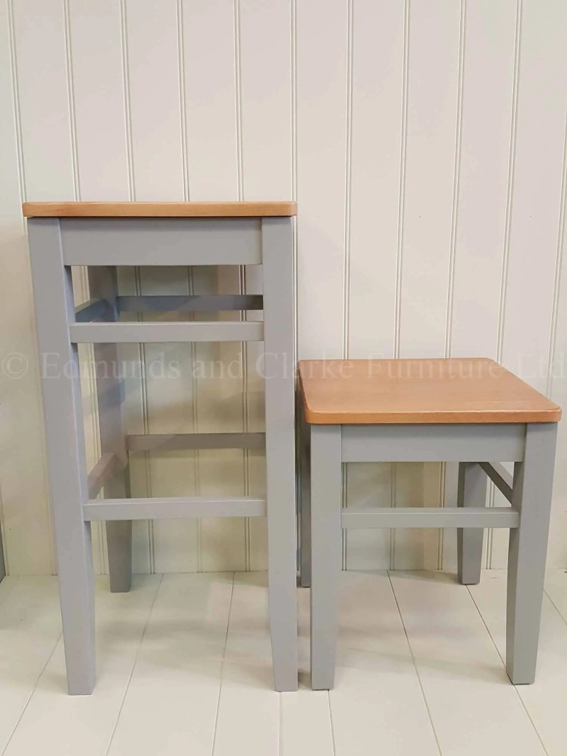 High and low shaker style painted stool with wooden tops