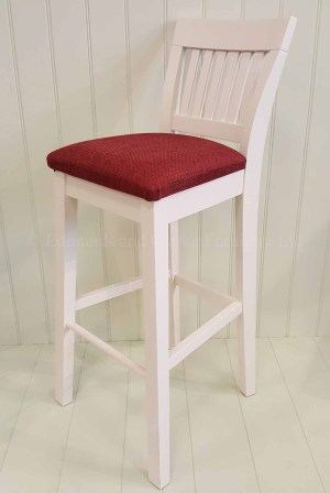 Edmunds Linden Bar Stool, image showing painted with fabric pad. perfect for breakfast bars or kitchen islands. over 100 fabrics to choose from and 10 edmunds colours