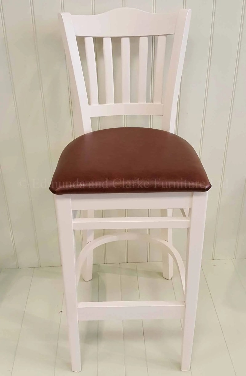 High kitchen stool painted with leather seat, choice of paint colours and fabrics
