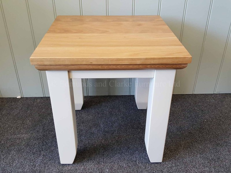 Nest of two tables, small pictured painted with solid oak top
