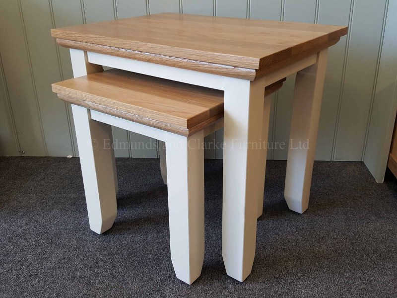 edmunds painted nest of two tables with oak top and mould tapered square edge legs painted grey