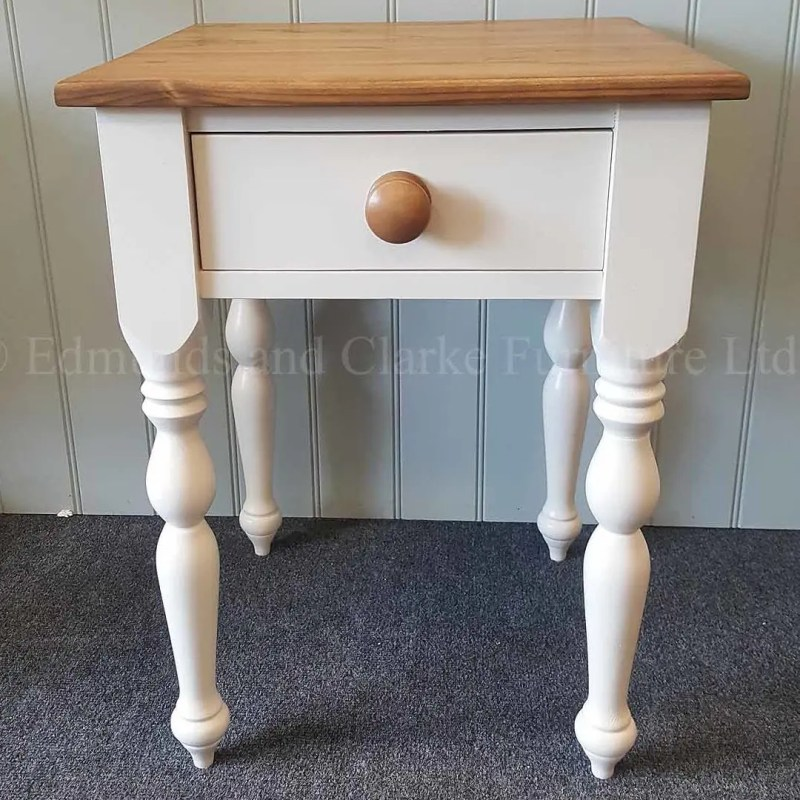four legged square lamp table made from solid pine and painted