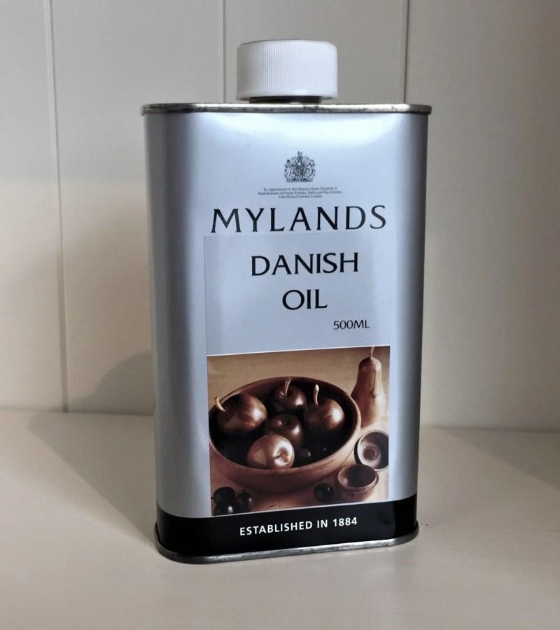 Tin of Mylands Danish Oil 500ml side angle