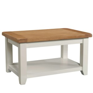Cornwall painted coffee table with shelf and oak top and painted frame in ivory