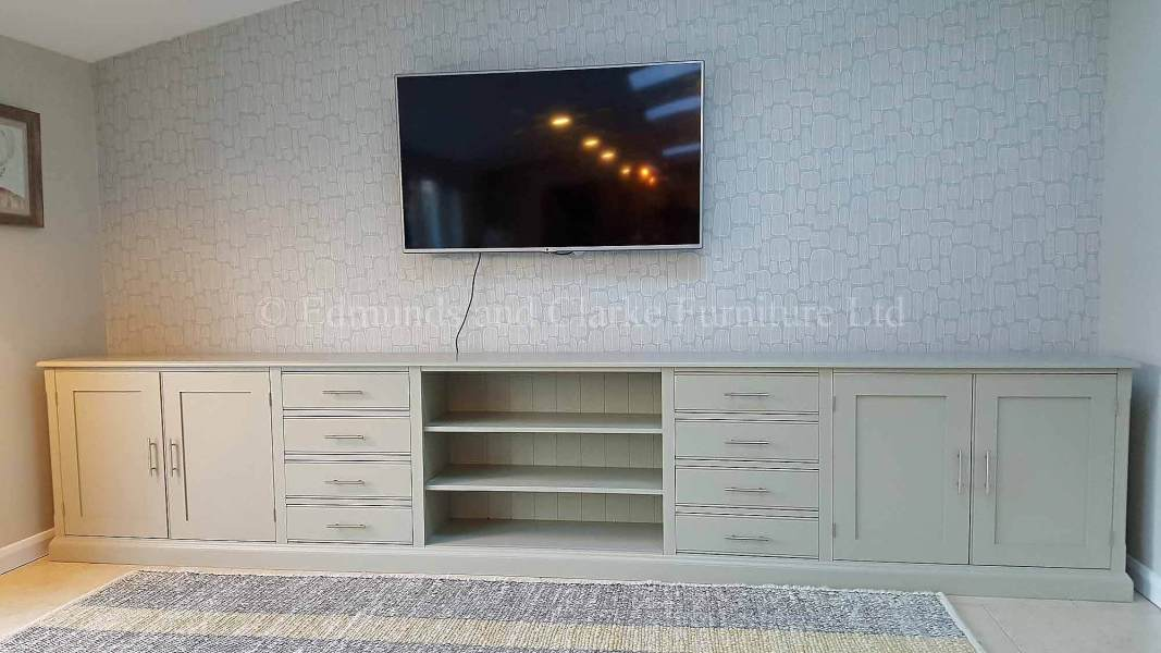 Bespoke painted long low television entertainment stand