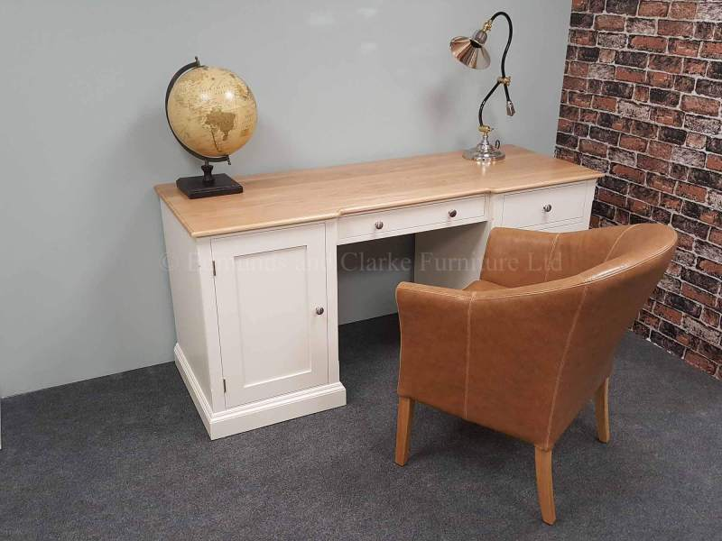 Large painted kneehole desk, with solid oak or pine top, choice of ten different colours