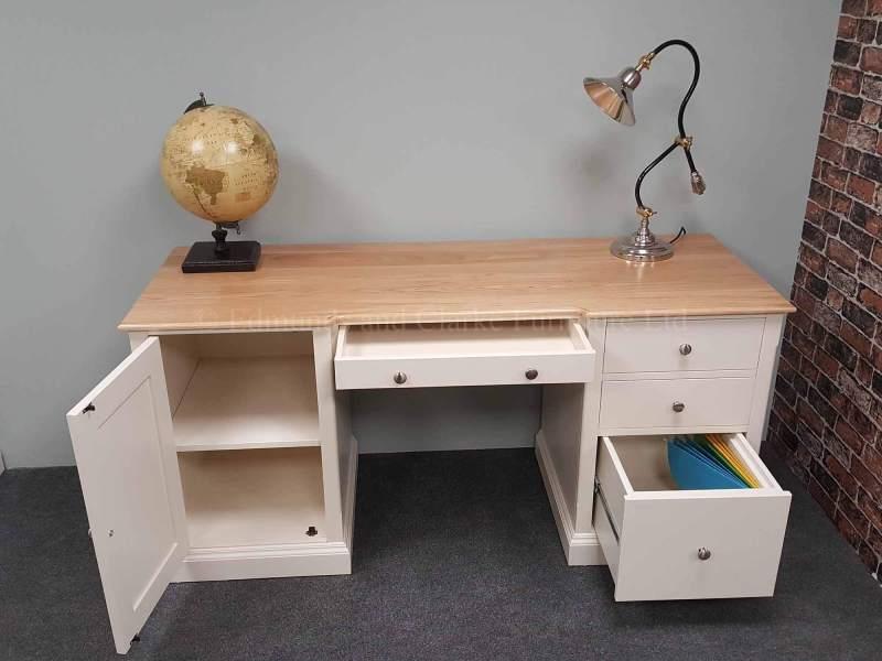 Painted double pedestal desk, choice of paint colours, pine or oak top available