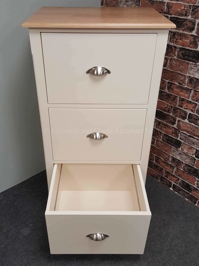 Three drawer painted filing cabinet with oak top, made for foolscap suspension files