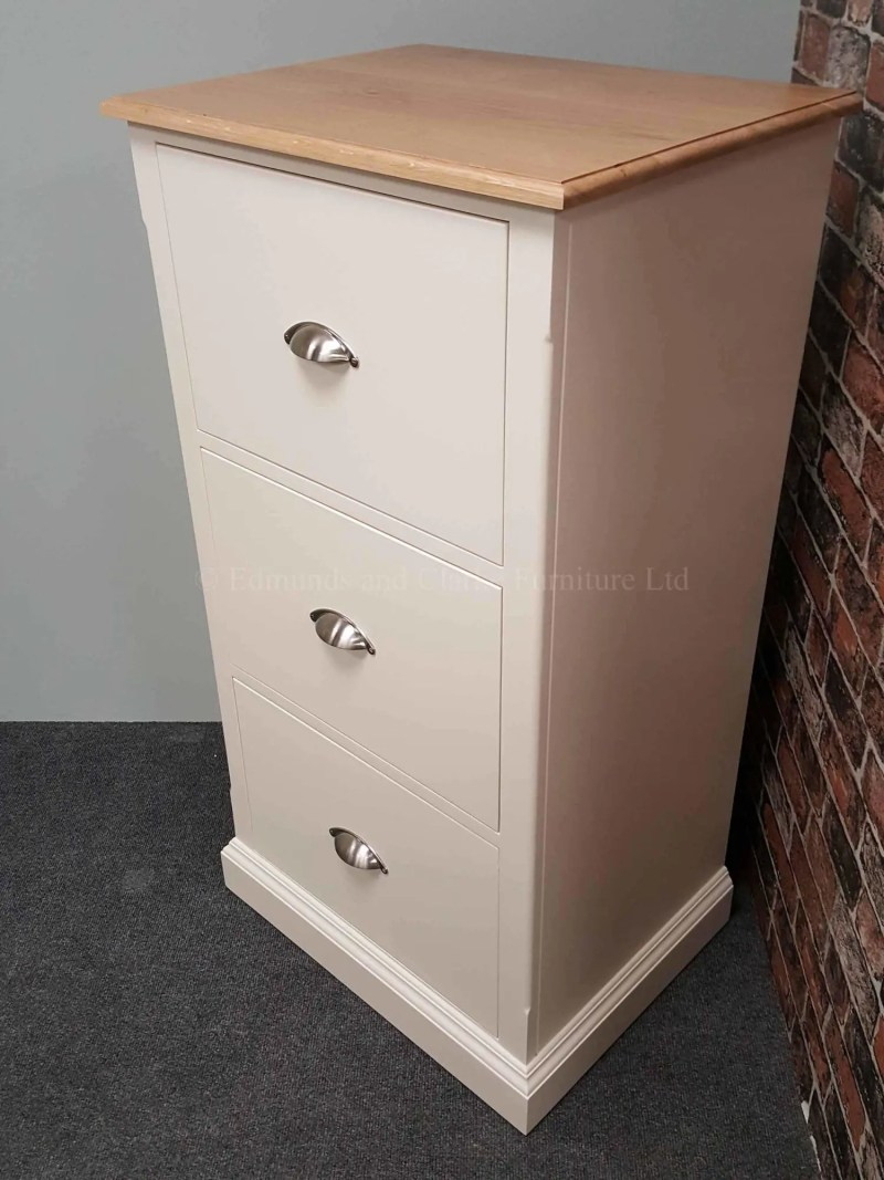 Three drawer filing cabinet painted in a choice of colours, pine or oak top also available