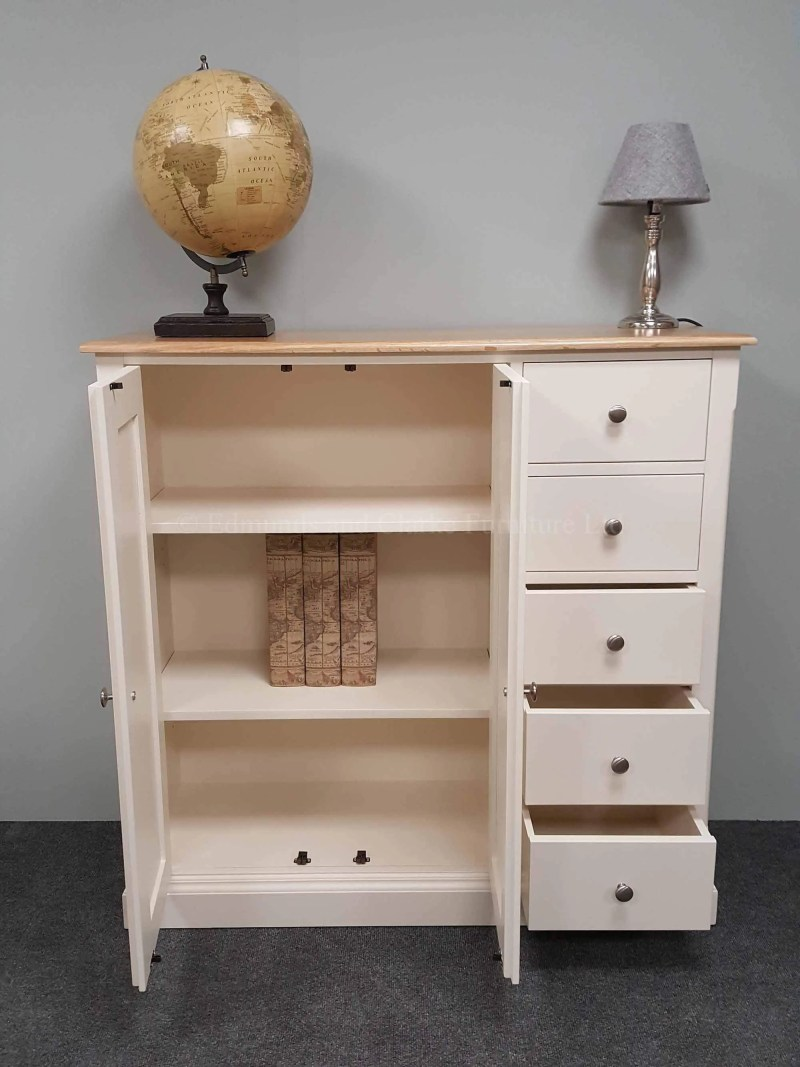 multi cupboard with five drawers, painted in a choice of colours with oak or pine top