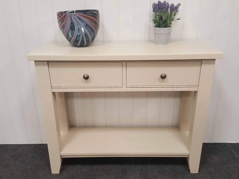 Painted console hall table, painted all over with two drawers and choice of knobs. handy shelf underneath for extra storage. painted in dunwich stone