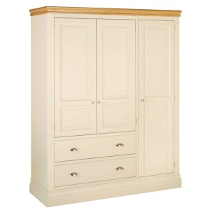 Lundy painted triple wardrobes with drawers painted truffle with chrome cup handles and knobs LW47 4 colours available