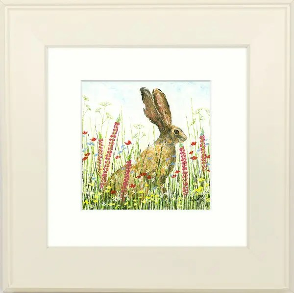Those Ears by sara pye - framed image of hare in field