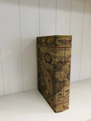 Woven world map book box