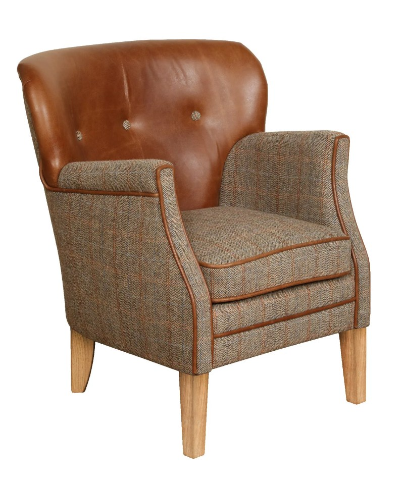 Vintage Sofa Company Elston Fast Track Chair hunting lodge tweed and cerato brown leather compact armchair