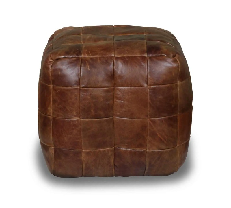 front image of Vintage Sofa Co square cube beanmade made from a patchwork of cerato leather