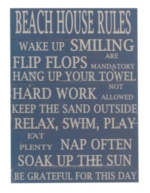 Archipelago Beach house rules wood sign blue G809