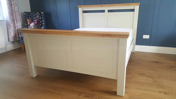 King size bed specially made painted grey with oak cappings high head and footboard panelled