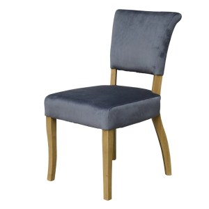 Capri velvet chairs with studded back in seal grey