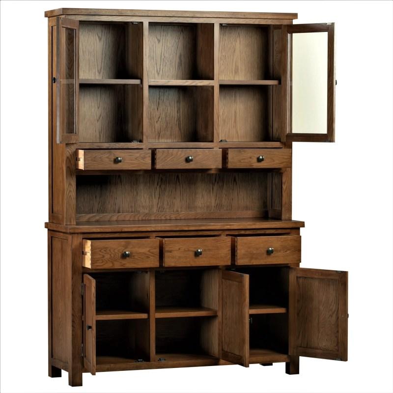 DOR055R + DOR052R Dorset rustic dresser and sideboard open