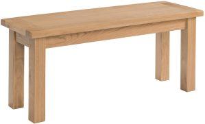 Dorset oak 90cm kitchen dining bench in light oak and shaker style legs